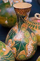 Beautiful painted Hawaiian gourds (ipus) displayed at a craft fair, Honolulu, O'ahu.