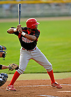 7 July 2008: Batavia Muckdogs' infielder Xavier Scruggs in action against the Vermont Lake Monsters at Centennial Field in Burlington, Vermont. The Lake Monsters defeated the Muckdogs 3-2 in the final game of their 3-game series...Mandatory Photo Credit: Ed Wolfstein Photo