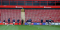 10th October 2020; Bescot Stadium, Wallsall, West Midlands, England; English Football League Two, Walsall FC versus Colchester United; Walsall players warming up