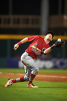 Palm Beach Cardinals third baseman Andrew Sohn (5) catches a foul ball during a game against the Bradenton Marauders on August 9, 2016 at McKechnie Field in Bradenton, Florida.  Bradenton defeated Palm Beach 8-7.  (Mike Janes/Four Seam Images)