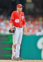 22 July 2012: Washington Nationals pitcher Ross Detwiler on the mound against the Atlanta Braves at Nationals Park in Washington, DC. The Nationals defeated the Braves 9-2 to split their 4-game weekend series. Mandatory Credit: Ed Wolfstein Photo