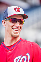 22 May 2015: Washington Nationals pitcher A.J. Cole smiles during batting practice prior to a game against the Philadelphia Phillies at Nationals Park in Washington, DC. The Nationals defeated the Phillies 2-1 in the first game of their 3-game weekend series. Mandatory Credit: Ed Wolfstein Photo *** RAW (NEF) Image File Available ***