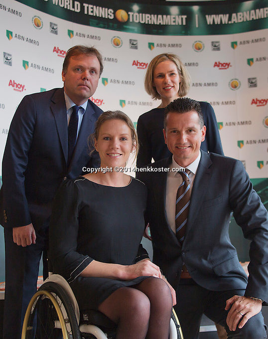 09-01-14, Netherlands, Rotterdam, TC Kralingen, ABNAMROWTT Press-conference, Richard Krajicek and Esther Vergeer tournament directors for the next three years, in the back Jolanda Jansen (Ahoy) and Ernst Broekhorst (ABNAMRO), who announced the continuation for 2015/17.<br />