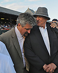 5 September 2009: Rachel Alexandra's trainer Steven Asmussen (left)  and owner Jess jackson celebrate her win in the Woodward Stakes at Saratoga Race Track in Saratoga Springs, New York