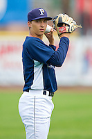 Princeton Rays starting pitcher Blake Snell (11) warms up in the outfield prior to the game against the Burlington Royals at Hunnicutt Field on July 15, 2012 in Princeton, West Virginia.  The Royals defeated the Rays 2-0 in game one of a double header.  (Brian Westerholt/Four Seam Images)
