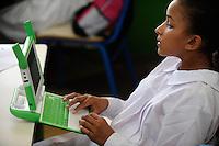 URUGUAY Montevideo, OLPC One Laptop per Child project, the 100 Dollar laptop initiative of Nicholas Negroponte, is implemented in Uruguay for children at all schools under Plan Ceibal / URUGUAY Montevideo, fuer alle Kinder an  staatlichen Schulen Uruguays ist das OLPC one laptop per child Programm als Bildungsinitiative Plan Ceibal umgesetzt , jedes Kind bekommt einen 100 Dollar Laptop XO-1 und Zugang zum W-lan Netz der Schule