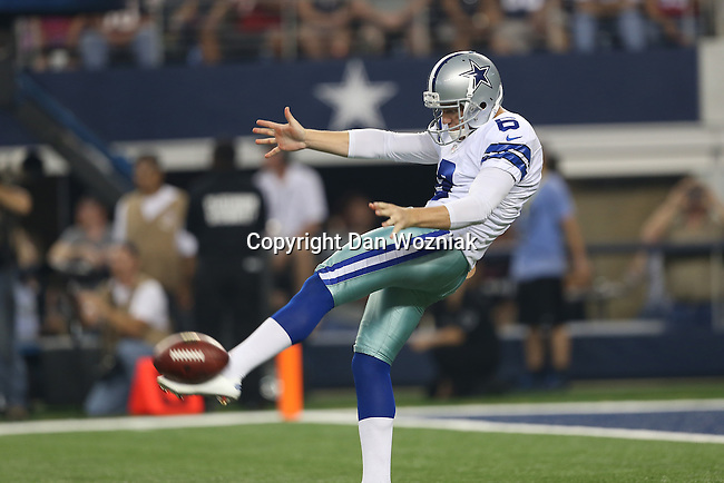 Dallas Cowboys punter Chris Jones (6) in action during the pre-season game between the Houston Texans and the Dallas Cowboys at the AT & T stadium in Arlington, Texas. Houston leads Dallas 14 to 3 at halftime.