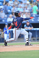 Rome Braves center fielder Justin Dean (14) swings at a pitch during a game against the Asheville Tourists at McCormick Field on August 31, 2018 in Asheville, North Carolina. The Braves defeated the Tourists 11-7. (Tony Farlow/Four Seam Images)