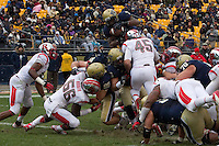 Pitt running back Ray Graham leaps into the endzone to score on a one yard run. The Pitt Panthers defeat the Rutgers Scarlet Knights 27-6 on Saturday, November 24, 2012 at Heinz Field , Pittsburgh, PA.