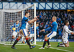 Lee Wallace scores for Rangers and celebrates with Kenny Miller