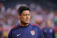 United States assistant coach Martin Vasquez. The men's national teams of the United States (USA) and Mexico (MEX) played to a 1-1 tie during an international friendly at Lincoln Financial Field in Philadelphia, PA, on August 10, 2011.