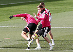 Real Madrid's Jese Rodriguez (l), Sergio Ramos (r) and Toni Kroos during training session.January 30,2015.(ALTERPHOTOS/Acero)