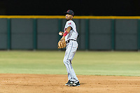 AZL Indians 2 second baseman Gionti Turner (10) prepares to make a throw to first base during an Arizona League game against the AZL Cubs 2 at Sloan Park on August 2, 2018 in Mesa, Arizona. The AZL Indians 2 defeated the AZL Cubs 2 by a score of 9-8. (Zachary Lucy/Four Seam Images)