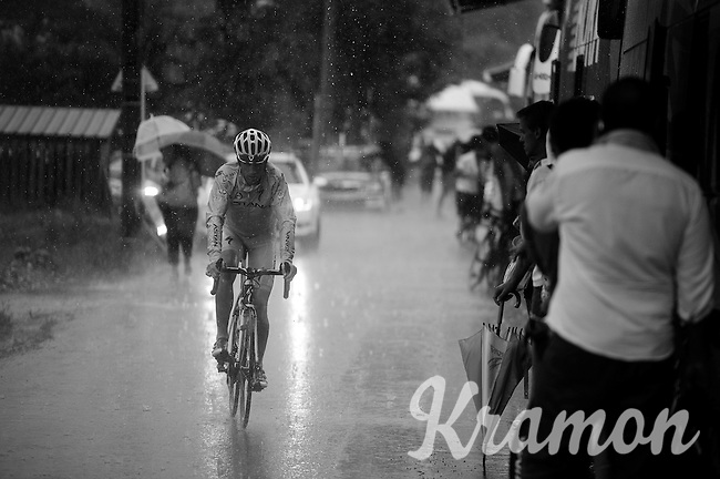 Lieuwe Westra (NLD/Astana) arriving at the team bus in a rain storm after finishing the stage<br /> <br /> stage 17: Digne-les-Bains - Pra Loup (161km)<br /> 2015 Tour de France