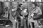 Crufts Dog Show, family with baby, chatting to visitor. Earls Court Exhibition Centre London 1968 1960s Uk