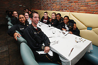 7 April 2008: Stanford Cardinal (clockwise from closest to camera) practice player Matt McEvoy, team manager Leah Godinet, Hannah Donaghe, Ashley Cimino, Jeanette Pohlen, JJ Hones, Candice Wiggins, and Melanie Murphy during Stanford's private dinner hosted by athletic director Bob Bowlsby in congratulation for making the 2008 NCAA Division I Women's Basketball Final Four championship game at the Side Bern's restaurant in Tampa Bay, FL.