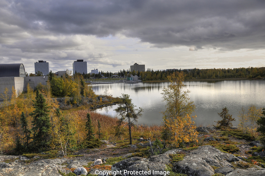 View of downtown Yellowknife across Frame Lake