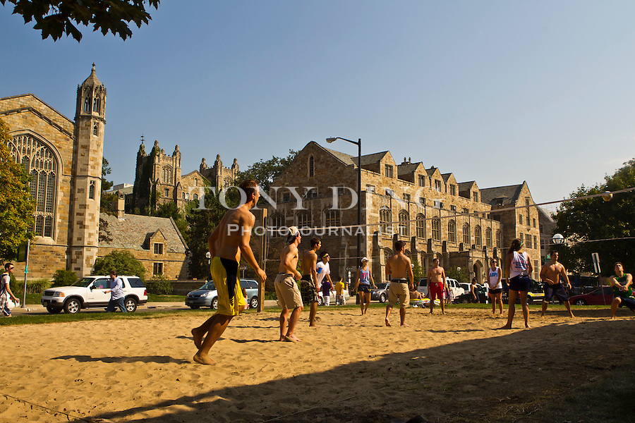 The Law Quad sits on State Street across from the Alpha Delta Phi fraternity house and their oft-used beach volleyball court, Friday, Sept. 2, 2011 in Ann Arbor, Mich. (Tony Ding for The New York Times)