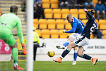 St Johnstone v Dundee…02.10.21  McDiarmid Park.    SPFL<br />Cammy MacPherson's shot is blocked by Cillian Sheridan<br />Picture by Graeme Hart.<br />Copyright Perthshire Picture Agency<br />Tel: 01738 623350  Mobile: 07990 594431