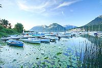 France, Haute-Savoie (74), Saint-Jorioz, lac d'Anneçy, le port de plaisance en soirée et une promeneuse sur le ponton // France, Haute-Savoie, Saint-Jorioz, lake Anneçy, the Marina