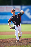 Batavia Muckdogs relief pitcher Shane Sawczak (33) during a game against the West Virginia Black Bears on August 21, 2016 at Dwyer Stadium in Batavia, New York.  West Virginia defeated Batavia 6-5. (Mike Janes/Four Seam Images)