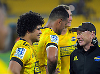 Duplessis Kirifi chats with Hurricanes team manager Tony Ward after the Super Rugby match between the Hurricanes and Sharks at Sky Stadium in Wellington, New Zealand on Saturday, 15 February 2020. Photo: Dave Lintott / lintottphoto.co.nz