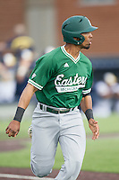 Eastern Michigan Hurons shortstop Marquise Gil (4) runs to first base against the Michigan Wolverines on May 3, 2016 at Ray Fisher Stadium in Ann Arbor, Michigan. Michigan defeated Eastern Michigan 12-4. (Andrew Woolley/Four Seam Images)