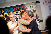 Rocker Bruce Springsteen (C), former US Poet Laureate Robert Pinsky (R) and WAMFEST artist in residence and host John Wesley Harding, end their talk and performance at the 2010 literary and music festival WAMFest at Fairleigh Dickinson University, Madison, NJ, USA, 6 May 2010.