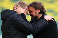 1st May 2021; Carrow Road, Norwich, Norfolk, England, English Football League Championship Football, Norwich versus Reading; Norwich City Manager Daniel Farke celebrates winning the EFL Championship with backroom staff