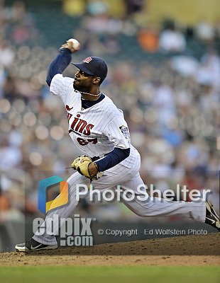 29 September 2012: Minnesota Twins pitcher Luis Perdomo in action against the Detroit Tigers at Target Field in Minneapolis, MN. The Tigers defeated the Twins 6-4 in the second game of their 3-game series. Mandatory Credit: Ed Wolfstein Photo