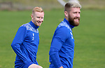 St Johnstone Training....   Ali Crawford pictured with Shaun Rooney during training at McDiarmid Park ahead of Saturday's game against Rangers.<br />Picture by Graeme Hart.<br />Copyright Perthshire Picture Agency<br />Tel: 01738 623350  Mobile: 07990 594431
