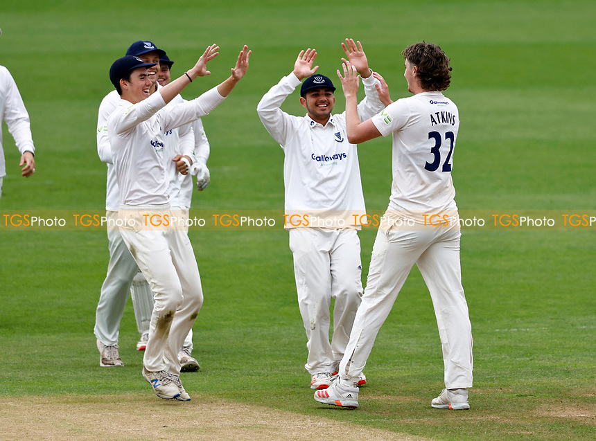 Jamie Atkins of Sussex is congratulated after bowling Bailey Wightman during Kent CCC vs Sussex CCC, LV Insurance County Championship Group 3 Cricket at The Spitfire Ground on 13th July 2021