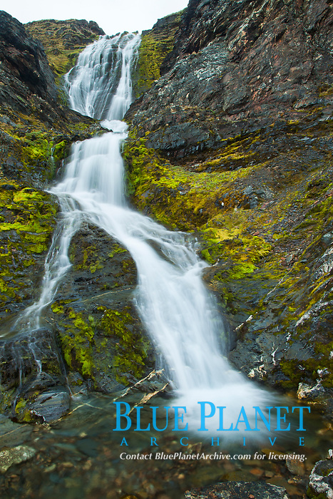 Shackleton Falls, named for explorer Sir Ernest Shackleton, formed from glacial meltwaters, near Stromness Bay.