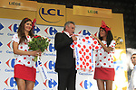 Former Champion rider Lucien Van Impe (BEL) is awarded the Climbers Polka Dot Jersey at the end of the Prologue of the 99th edition of the Tour de France 2012, a 6.4km individual time trial starting in Parc d'Avroy, Liege, Belgium. 30th June 2012.<br /> (Photo by Eoin Clarke/NEWSFILE)