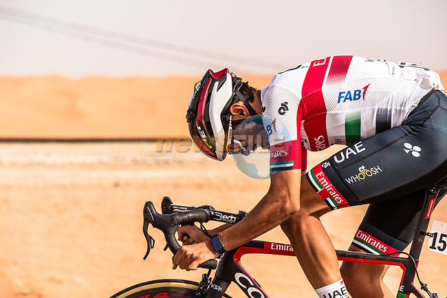 Yousif Mirza (UAE) UAE Team Emirates in action during Stage 1 of the Saudi Tour 2020 running 173km from Saudi Arabian Olympic Committee to Jaww, Saudi Arabia. 4th February 2020. <br /> Picture: ASO/Kåre Dehlie Thorstad | Cyclefile<br /> All photos usage must carry mandatory copyright credit (© Cyclefile | ASO/Kåre Dehlie Thorstad)