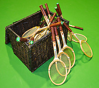 11-02-14, Netherlands,Rotterdam,Ahoy, ABNAMROWTT, Old wooden rackets in a basket<br /> Photo:Tennisimages/Henk Koster