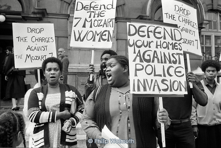 Residents of the Mozart Estate, North Paddington, picket Marylebone Magistrates Court in protest at the arrest of seven black women during an exercise involving 50 policemen with dogs.