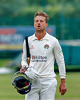 23rd September 2021; Aigburth, Liverpool, Merseyside, England; LV=Country Cricket Championship; Lancashire versus Hampshire; <br /> Lancashire captain Dane Vilas walks off after hitting the winning run to give his side a one wicket win and keeps them in the title race hoping for a result that will win them the league
