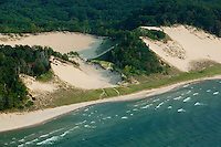 aerial photograph sand dunes Lake Michigan, Michigan shoreline