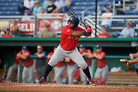 State College Spikes Martin Figueroa (22) at bat during a NY-Penn League game against the Batavia Muckdogs on July 2, 2019 at Dwyer Stadium in Batavia, New York.  Batavia defeated State College 1-0.  (Mike Janes/Four Seam Images)