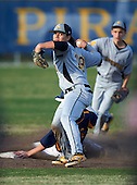 Lakewood Spartans shortstop Bo Bichette (19) throws home as Jake Dolcater (16) slides into second during a game against the Boca Ciega Pirates at Boca Ciega High School on March 2, 2016 in St. Petersburg, Florida.  (Copyright Mike Janes Photography)