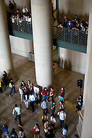 People gather in Lobby 7 during the MIT Under the Dome open house before a flashmob at noon in Cambridge, Massachusetts, USA.