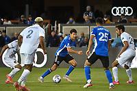 SAN JOSE, CA - JUNE 26: Shea Salinas #6 of the San Jose Earthquakes during a game between Los Angeles Galaxy and San Jose Earthquakes at PayPal Park on June 26, 2021 in San Jose, California.