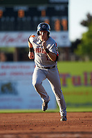 Aberdeen Ironbirds designated hitter Chris Shaw (17) running the bases during a game against the Batavia Muckdogs on July 14, 2016 at Dwyer Stadium in Batavia, New York.  Aberdeen defeated Batavia 8-2. (Mike Janes/Four Seam Images)