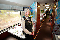 Pam Ratliff oversees the dining area on the Alaska Railroad's GoldStar first-class service.