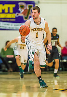26 January 2014: University of Vermont Catamount Forward Brian Voelkel, a Senior from Pleasantville, NY, leads a play up court against the Binghamton University Bearcats at Patrick Gymnasium in Burlington, Vermont. The Catamounts defeated the Bearcats 72-39 to notch their 12th win of the season. Mandatory Credit: Ed Wolfstein Photo *** RAW (NEF) Image File Available ***