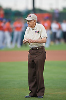 An Honor Flight Veteran throws out a ceremonial first pitch before the Florida State League All-Star Game on June 17, 2017 at Joker Marchant Stadium in Lakeland, Florida.  FSL North All-Stars defeated the FSL South All-Stars  5-2.  (Mike Janes/Four Seam Images)