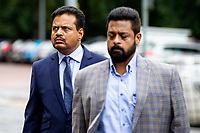 Pictured: Khitish Mohanty (left) arrives at Cardiff Crown Court, Cardiff, Wales, UK. Monday 07 October 2019<br />