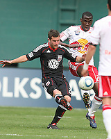 Stephen King #20 of D.C. United goes for the ball with Ibrahim Salou #29 of the New York Red Bulls during an MLS match on May 1 2010, at RFK Stadium in Washington D.C.