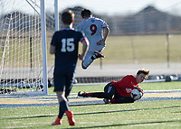 NWA Democrat-Gazette/CHARLIE KAIJO Bentonville West High School goalkeeper Lleyton Hull (0) blocks during a soccer game, Friday, March 15, 2019 at Bentonville West in Centerton.